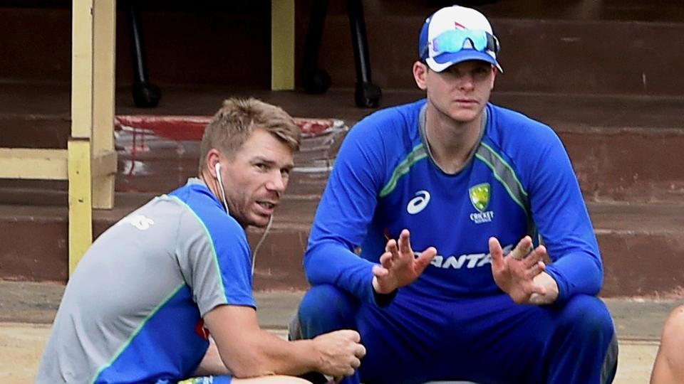 Australia cricket team captain Steve Smith and vice-captain David Warner during a practice session at MAC Stadium in Chennai on Thursday, ahead of the first ODI match against Indian cricket team scheduled for Sunday.