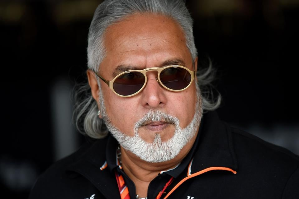 Vijay Mallya at a practice session at the Silverstone motor racing circuit in Silverstone, England on July 14, 2017.