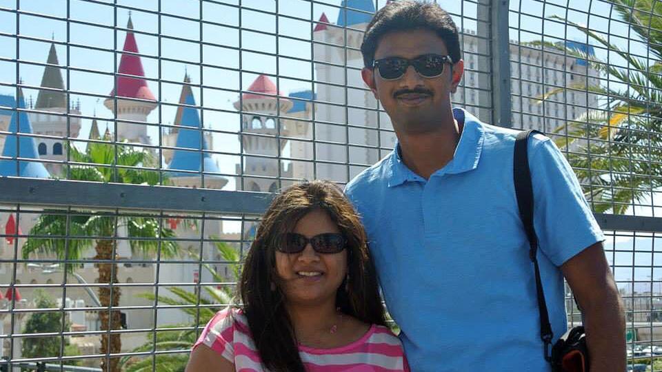 In this undated photo provided by Kranti Shalia, Srinivas Kuchibhotla, right, poses for photo with his wife Sunayana Dumala.