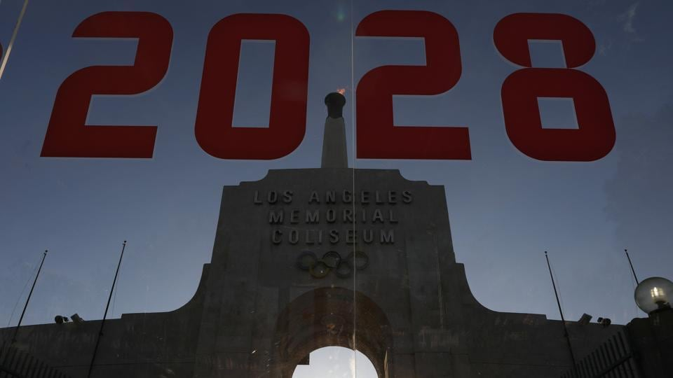 An LA2028 sign is seen at the Los Angeles Coliseum to celebrate Los Angeles being awarded the 2028 Olympic Games.  (REUTERS)