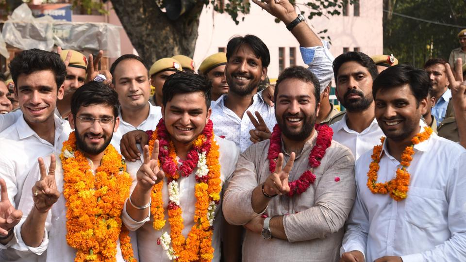 NSUI's winners during their victory celebrations after the DUSU election results.