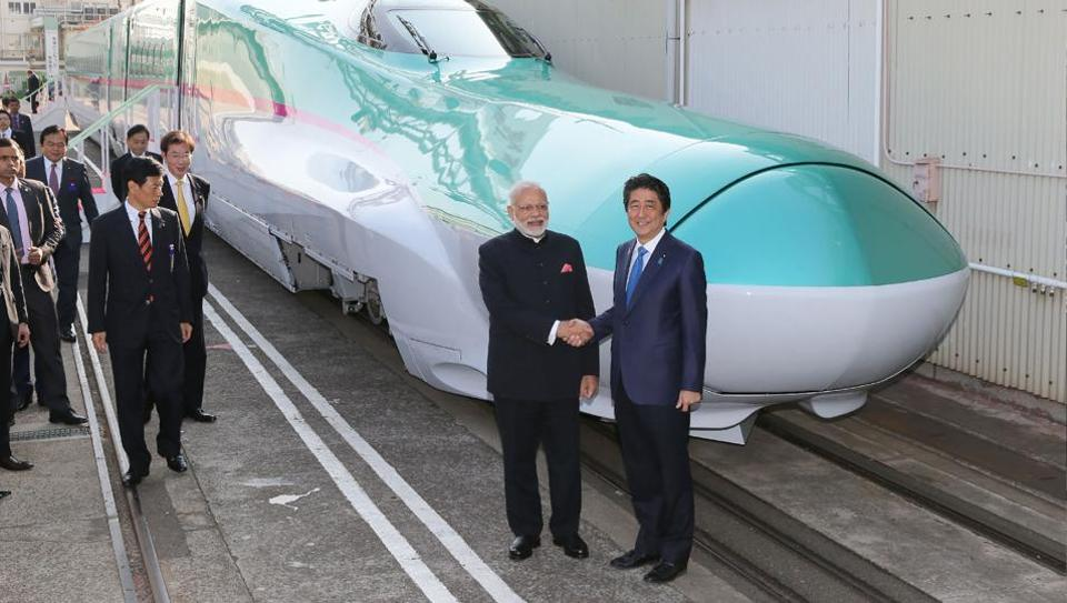 Prime Minister Narendra Modi with his Japanese counterpart Shinzo Abe during their inspection of a bullet train manufacturing plant in Kobe, Hyogo prefecture,Japan, November 2016