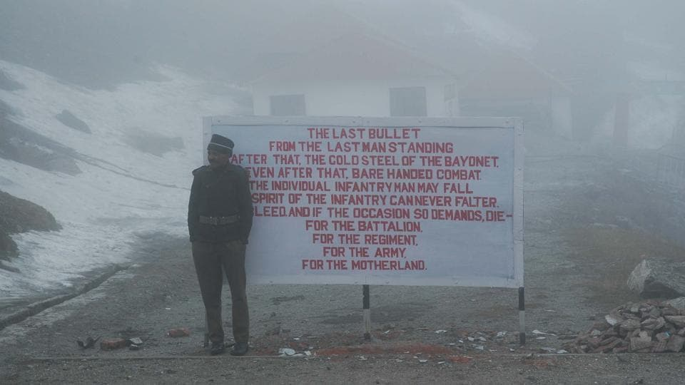 An Indian army soldier at Nathula pass in Sikkim.