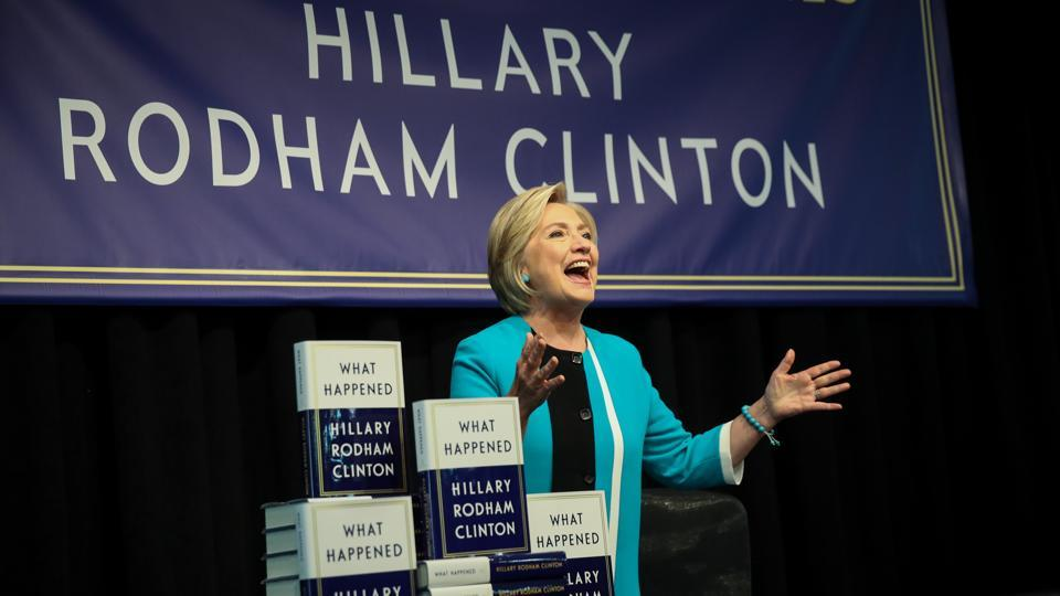 Former US Secretary of State Hillary Clinton at an event to promote her memoir,