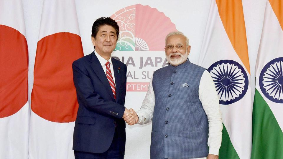 Prime Minister Narendra Modi and his Japanese counterpart Shinzo Abe shake hands at the India-Japan annual summit in Gandhinagar, Gujarat, on September 14, 2017.
