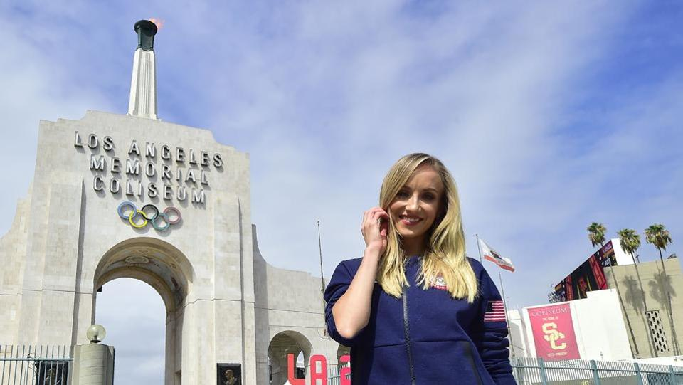 Former US Olympic gymnast Nastia Liukin poses at the Los Angeles Coliseum on September 13, 2017 in Los Angeles, California, as the city was officially named as host of the 2028 Olympics.  (AFP)