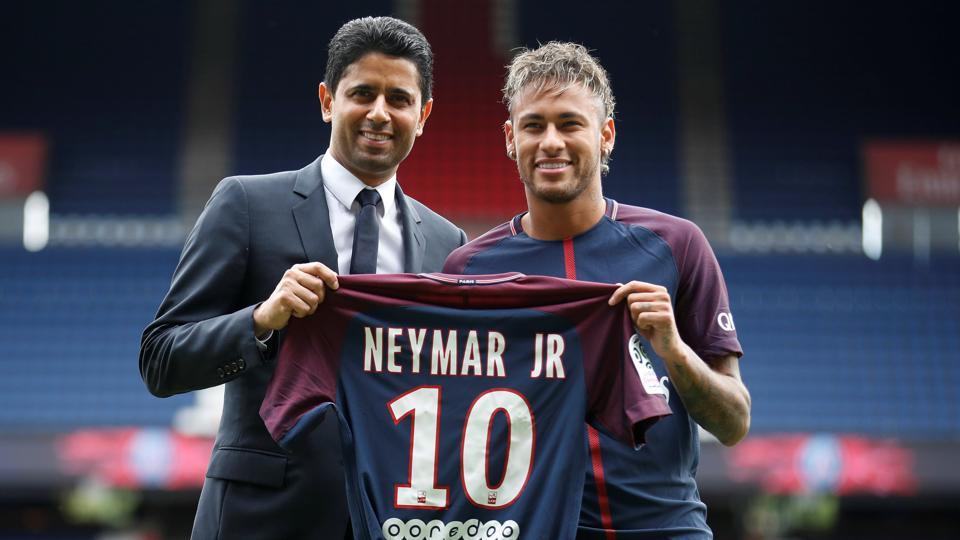 Paris Saint-Germain's world-record signing of Neymar from Barcelona for 222 million euros.
