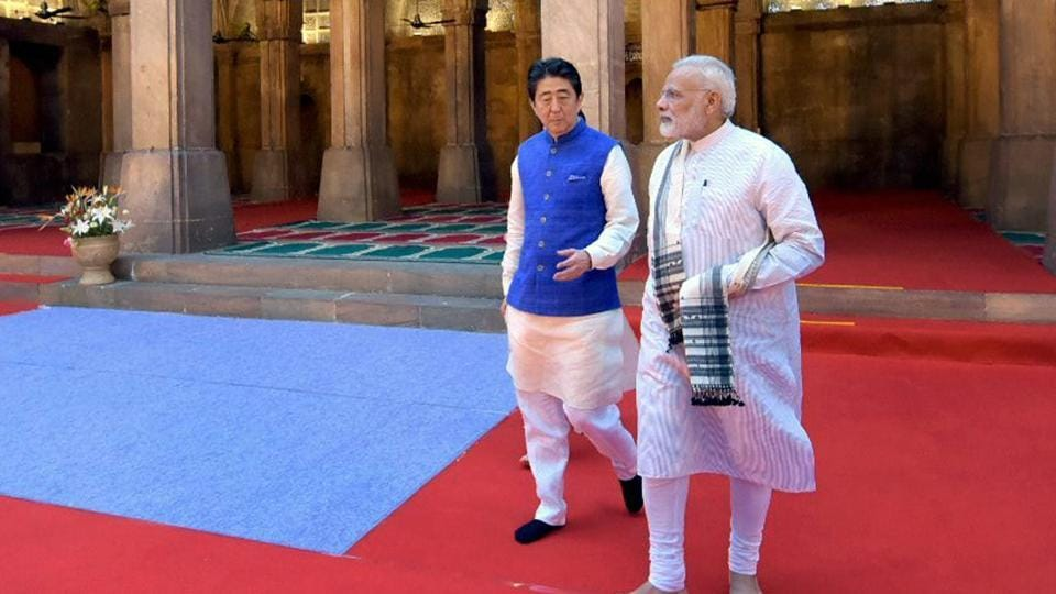 Prime Minister Narendra Modi and  his Japanese counterpart Shinzo Abe during a visit to the Sidi Saiyyed Mosque in Ahmedabad on Wednesday.