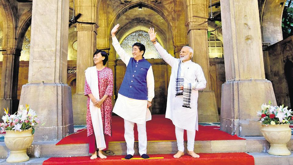 Prime Minister Shinzo Abe arrived in Ahmedabad yesterday afternoon on a two-day visit to attend his fourth India-Japan annual summit meeting with Prime Minister Narendra Modi. PM and his Japanese counterpart inaugurated India's first bullet train, the high speed rail project this morning in Ahmedabad.  The trio took a tour of Sidi Saiyyed Mosque, the famous 16th century mosque where PM Modi described them about its rich heritage and architecture. (PTI)