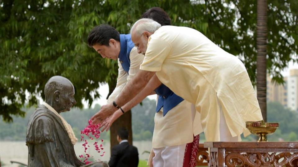 Soon after the arrival of PM Abe and Japan's first lady, Akie Abe, in Ahmedabad they visited the Sabarmati Ashram along with Prime Minister Narendra Modi on Wednesday. The trio also paid floral tribute at the Mahatma Gandhi's statue. (PTI)
