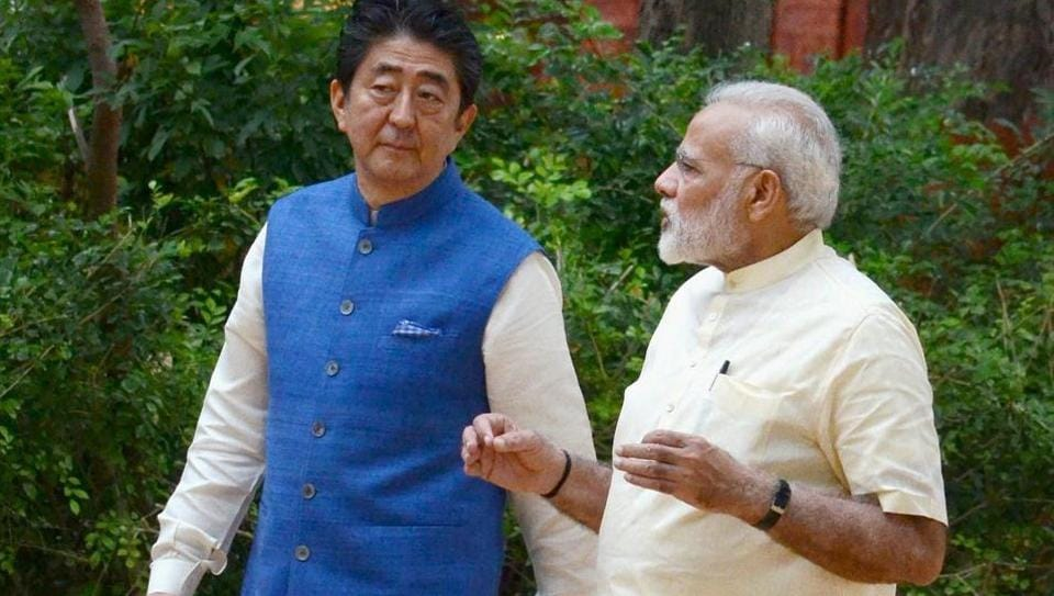 Prime Minister Narendra Modi with Japanese Prime Minister Shinzo Abe at Gandhi Ashram in Ahmedabad on Wednesday. Abe is on a two-day visit to India.