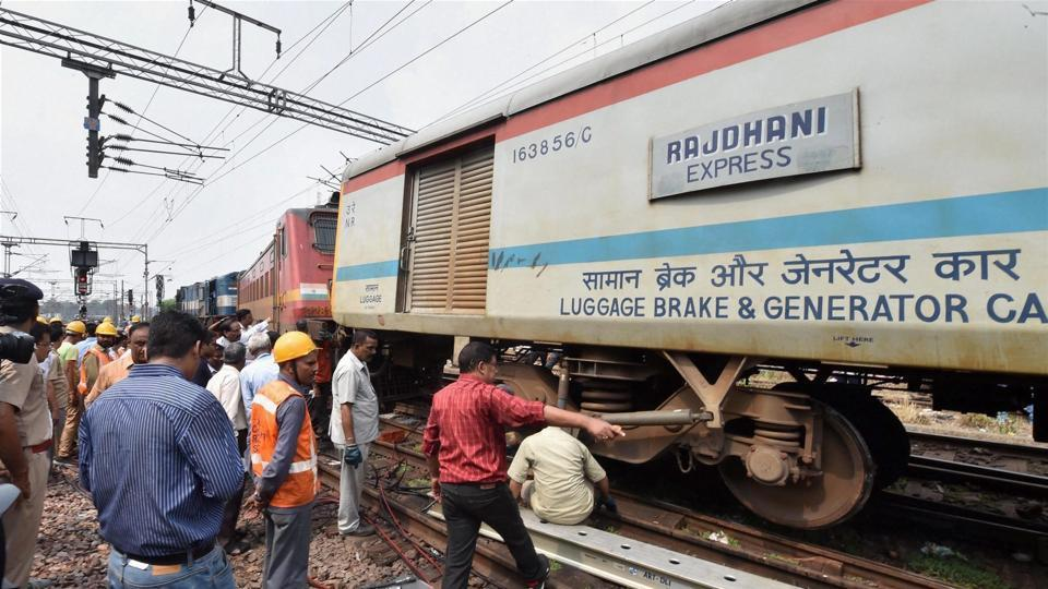 Image result for Jammu bound Delhi Rajdhani Express coach derailed near New Delhi railway station