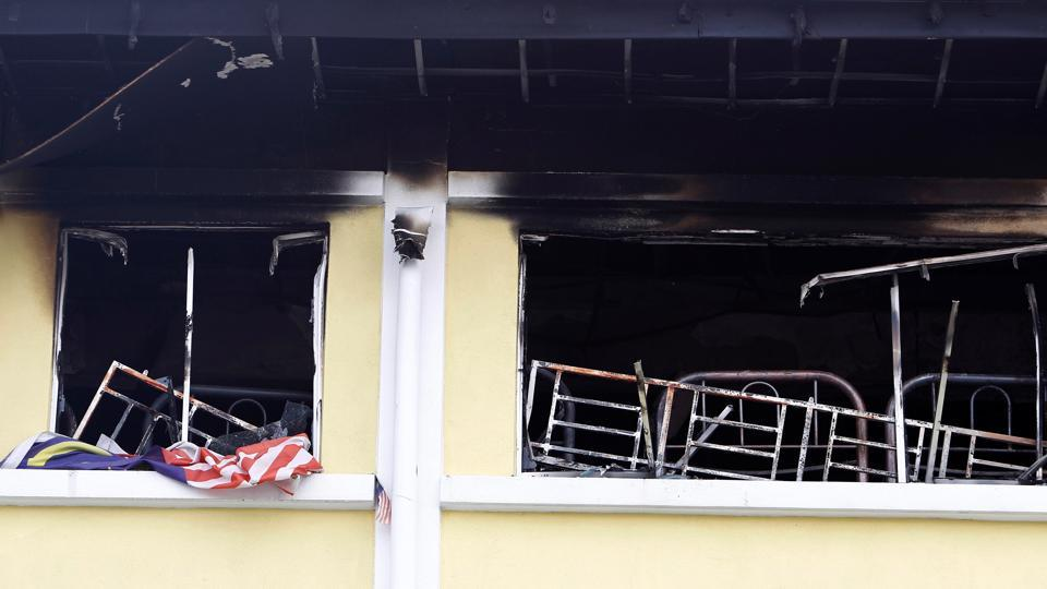 A view shows the second floor of religious school Darul Quran Ittifaqiyah after a fire broke out in Kuala Lumpur, Malaysia.