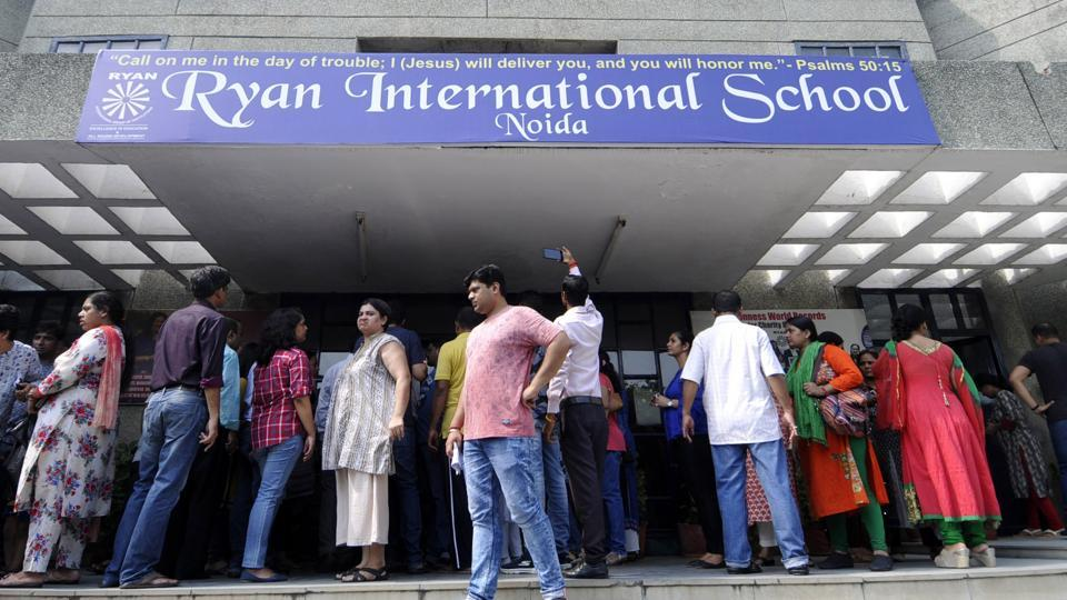 Parents gather to protest against the management of Ryan International School in Noida. A student of the school's Bhondsi, Gurgaon branch was allegedly killed by a bus conductor in a crime that triggered widespread outrage across NCR.