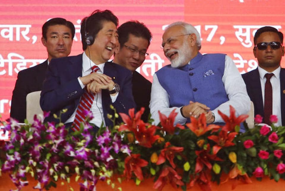 Japanese Prime Minister Shinzo Abe and Indian Prime Minister Narendra Modi at the ceremony for high speed rail project in Ahmedabad.
