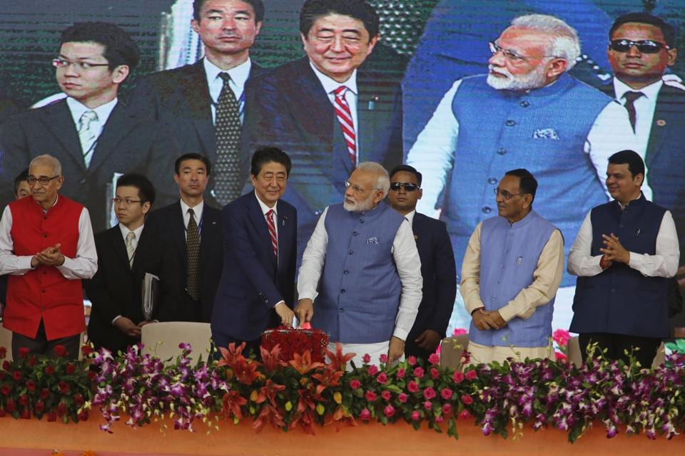 Today morning, Prime Minister Narendra Modi and his Japanese counterpart Shinzo Abe laid the foundation stone of the 508-km long Mumbai-Ahmedabad High Speed Rail at the Sabarmati athletic ground in Ahmedabad . They are expected to sign several agreements on strategic, financial and development cooperation. (Ajit Solanki / AP)