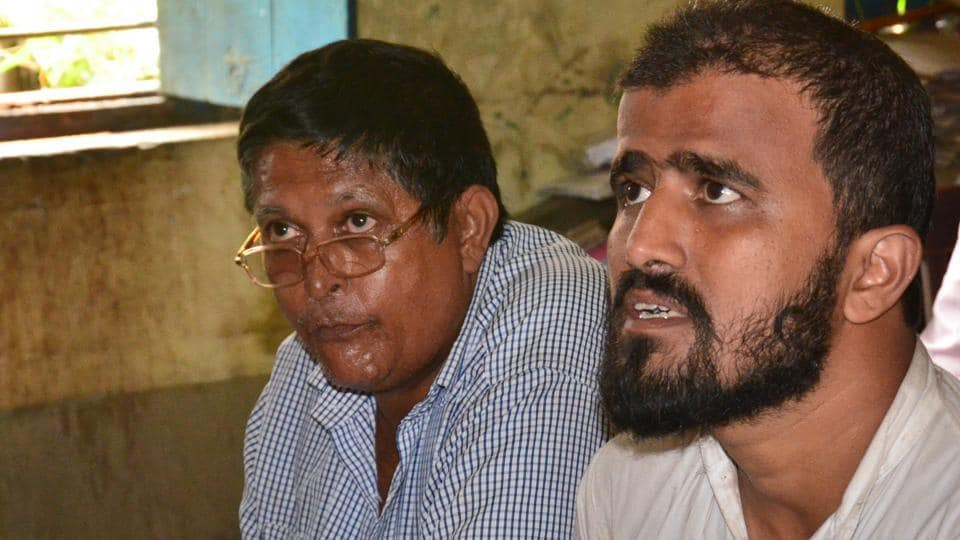 The arrested men, suspected to have links with terror outfit Harkat-ul-jihad-Islami, at a police station in Gaya.