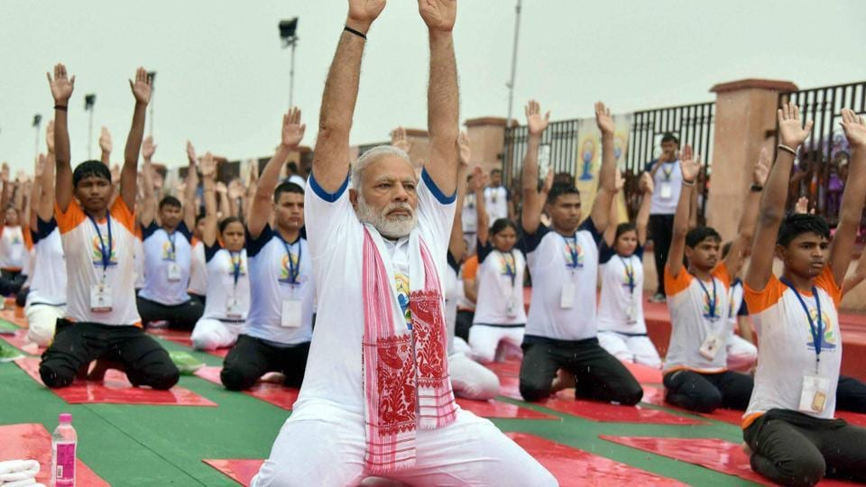 Prime Minister Narendra Modi's part in establishing and publicising Yoga Day is one of many ways his government has promoted yoga.