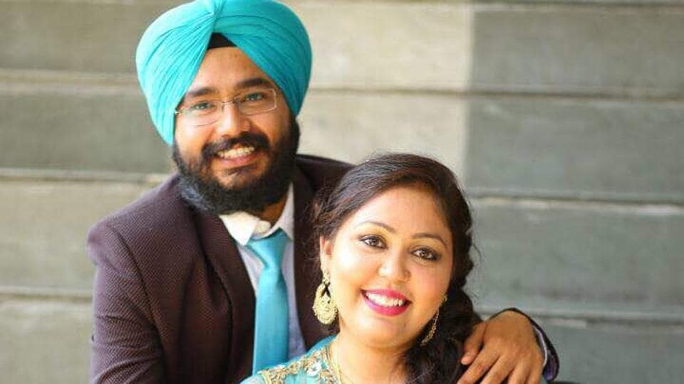 Amandeep Kaur, 25, with her fiance Aman Singh.