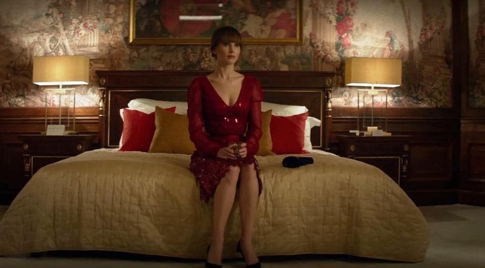 Jennifer Lawrence plays a seductress and a killer in Red Sparrow.
