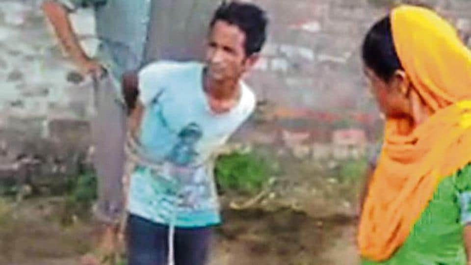 Dalit man,Dalit tied to tree,thrashed by landlord
