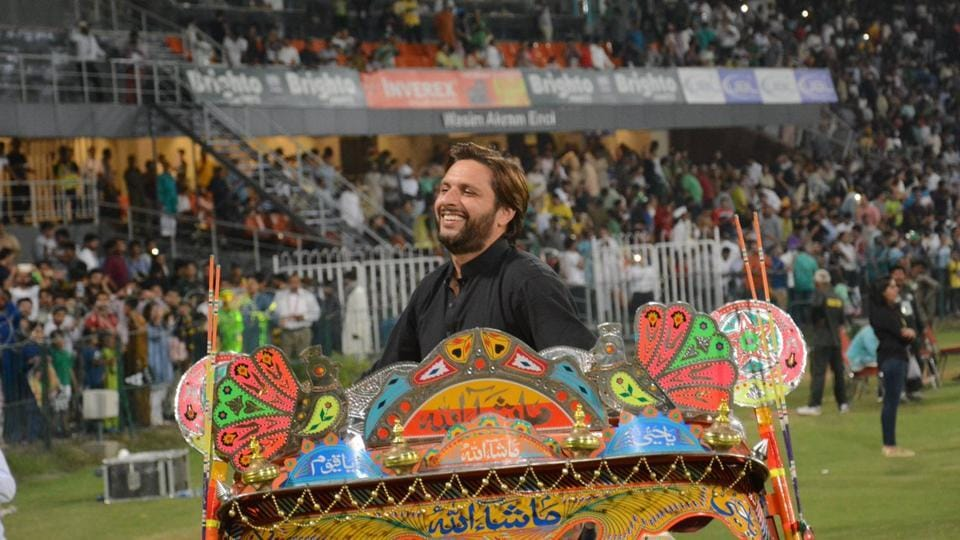Shahid Afridi, former Pakistan captain, was at the Gadaffi Stadium to witness the encounter.  (Twitter/pcb official )