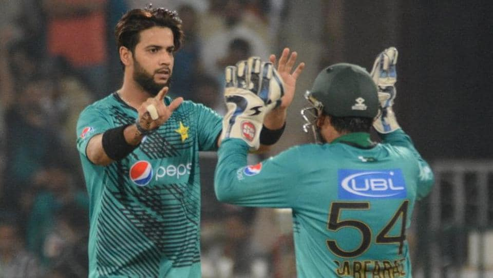 Imad Wasim got rid of Geroge Bailey to leave the visitors reeling at 53/4.  (Twitter/PCB OFFICIAL )