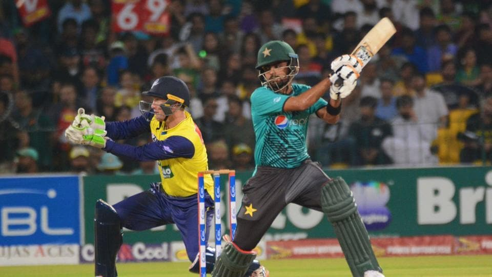Babar Azam supported Shehzad well and scored a 31-ball 48, studded with five boundaries.  (Twitter/ PCB OFFICIAL )