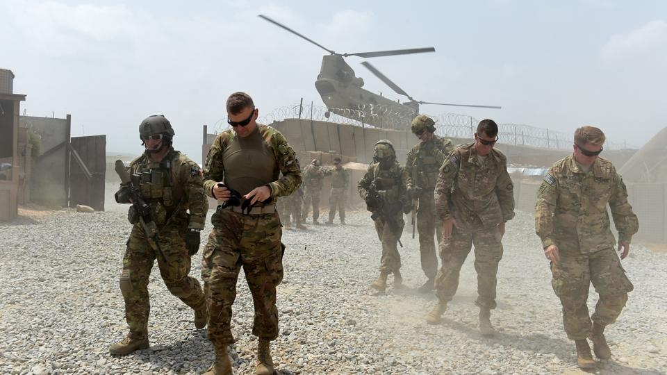 US Army soldiers at coalition force Forward Operating Base Connelly in the Khogyani district in the eastern province of Nangarhar in Afghanistan.