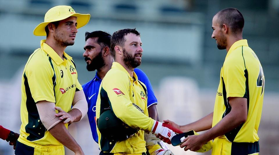 Australia's Ashton Agar and other teammates after winning the practice match vs BCCI Board President's XI at MA Chirambaram Stadium in Chennai on Tuesday.