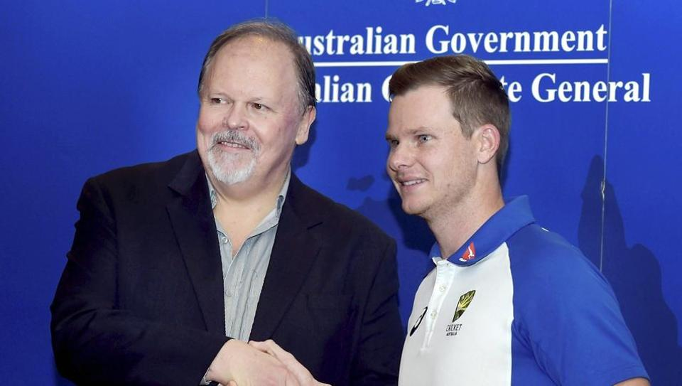 Steve Smith with Australian Consul-General Sean Kelly during a welcoming ceremony. (PTI)