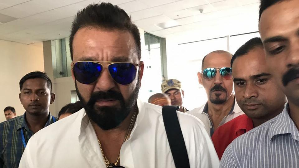 Actor Sanjay Dutt spotted at Lal Bahadur Shastri International Airport in Babatpur, Uttar Pradesh.