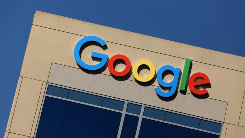 The Google logo is pictured atop an office building in Irvine, California, US on August 7.