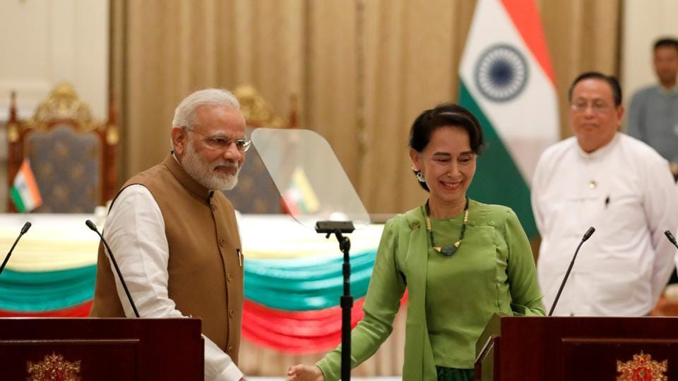 Prime Minister Narendra Modi with Myanmar's State Counselor Aung San Suu Kyi, Naypyitaw, Myanmar, September 6, 2017