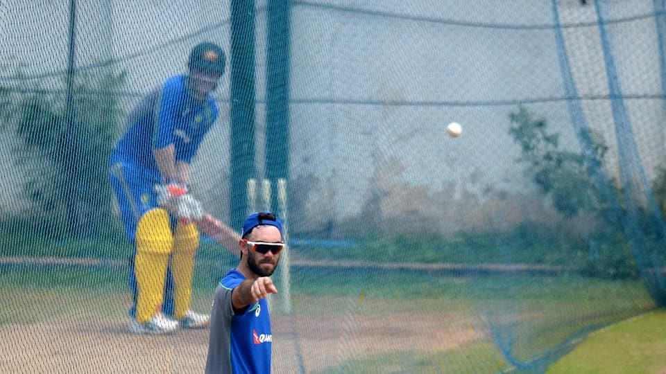 Glenn Maxwell  prepares for a batting training session at the nets in Chepauk stadium, Chennai. (AFP)