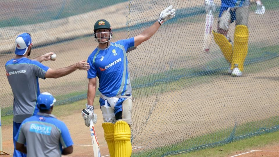 Marcus Stoinis blasted 76 and took a wicket as he staked a claim to be included in the first ODI in Chennai. (AFP)