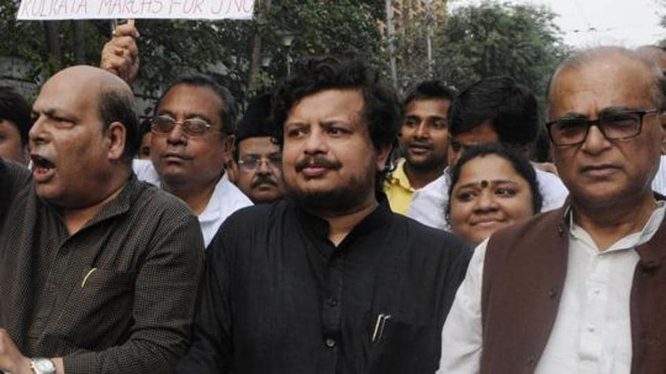 Ritabrata Banerjee (in black kurta) at a protest march in Kolkata.