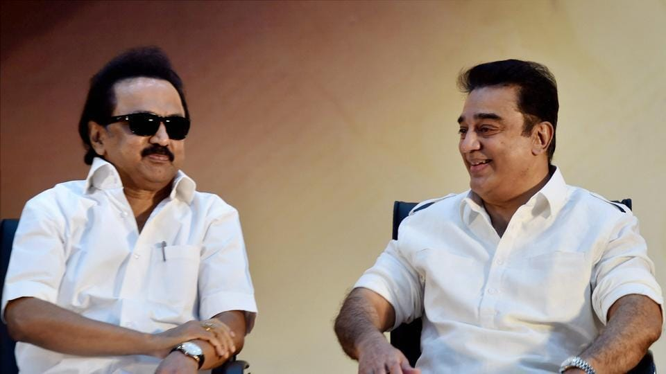 DMK working president MK Stalin and actor-filmmaker Kamal Haasan at the diamond jubilee celebration of the party's mouthpiece 'Murasoli' in Chennai on Thursday.