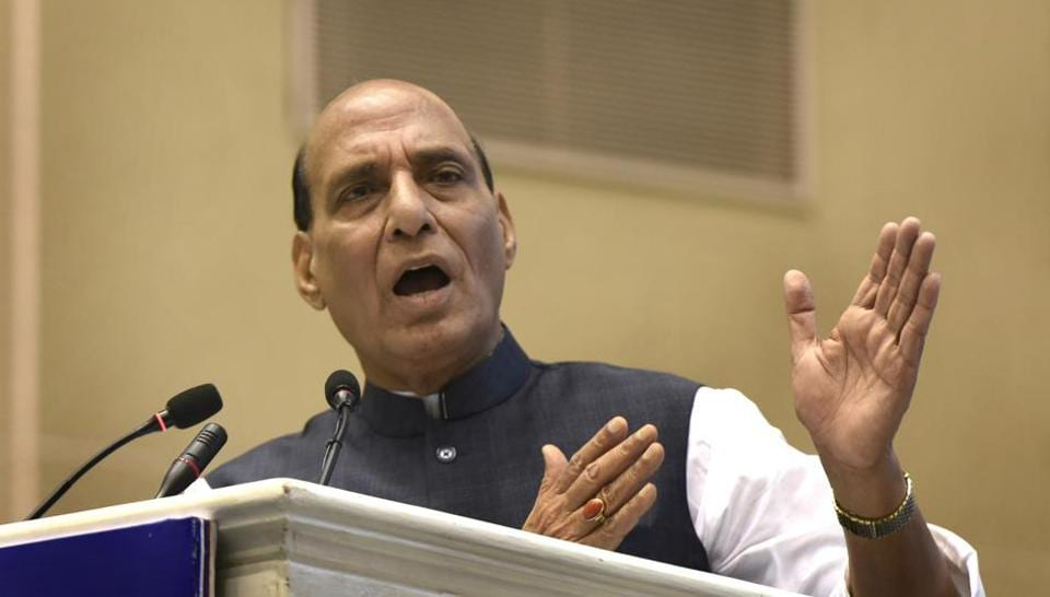 Union Home Minister Rajnath Singh addresses at the presentation ceremony of the Rajbhasha Awards for the Year 2016-17 on the occasion of Hindi Divas in New Delhi, India, on Thursday, September 14, 2017.