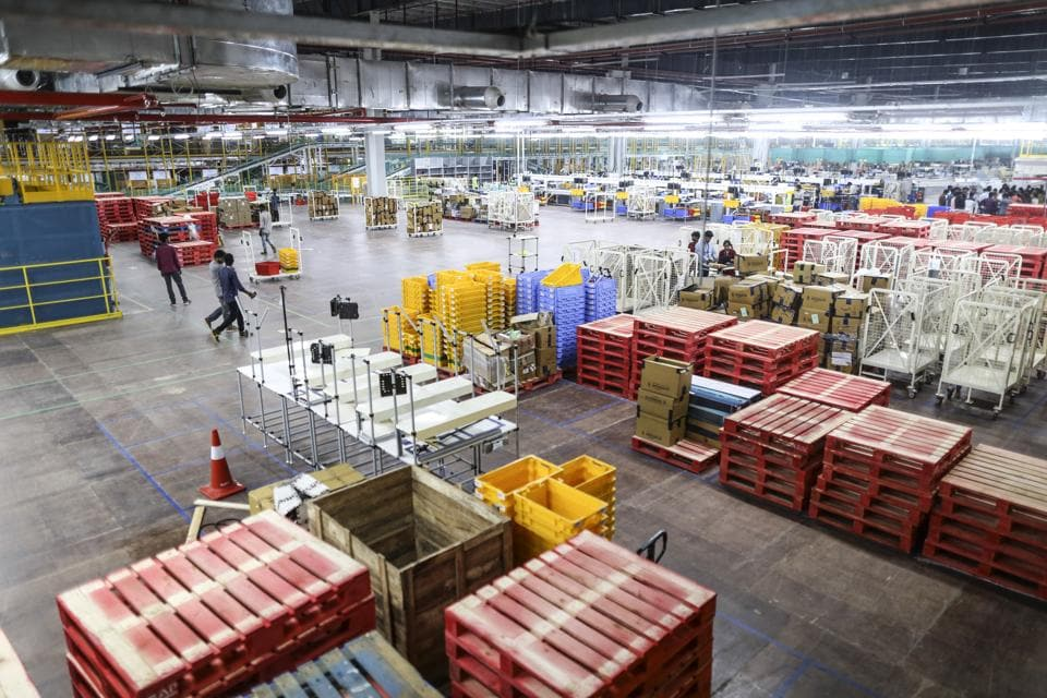 The warehouse at the Amazon.com Inc. fulfilment centre in Hyderabad on September 7, 2017. This is Amazon's largest such centre in India. It spans 400,000 square feet with 2.1m cubic feet of storage capacity.