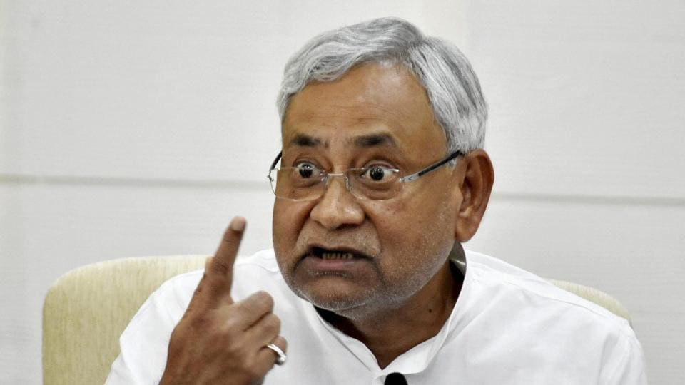 Bihar chief minister Nitish Kumar addressing a press conference in Patna on Monday.