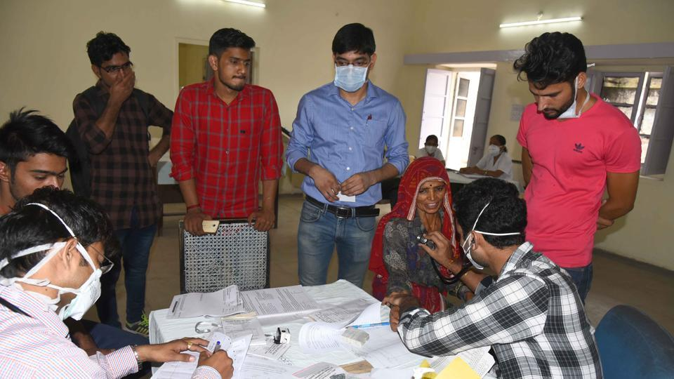 Patients at the new OPD opened for seasonal diseases at SMS Hospital in Jaipur.