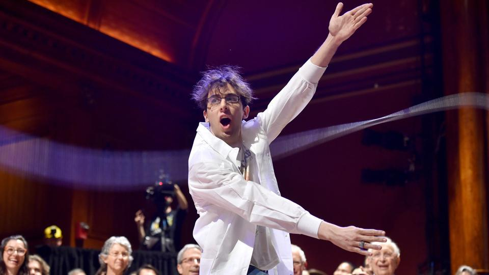 Performing chemist Michael Skuhersky participates in a Moment of Science during the 27th First Annual Ig Nobel Prize Ceremony at Harvard University in Cambridge, Massachusetts.