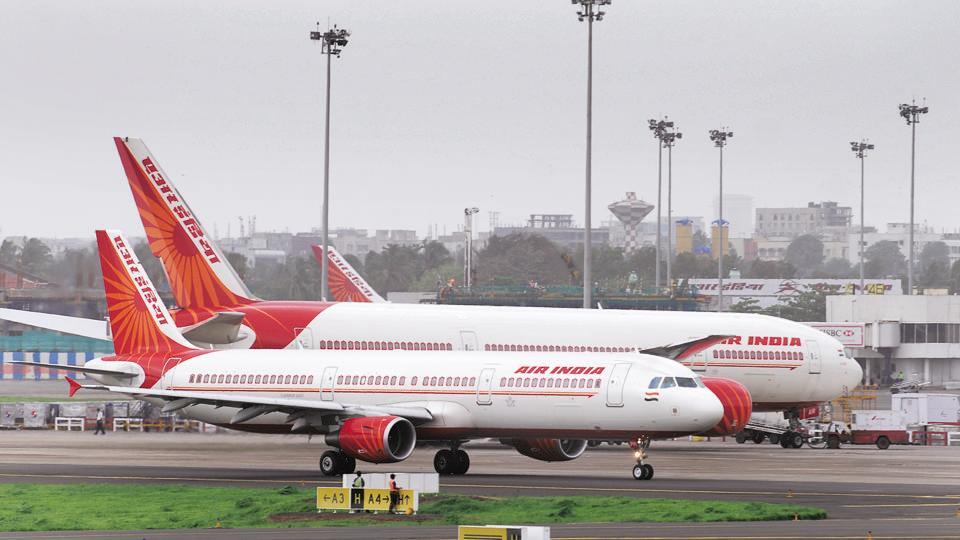 Air India aircraft photographed at Mumbai International Airport on July 24, 2009.