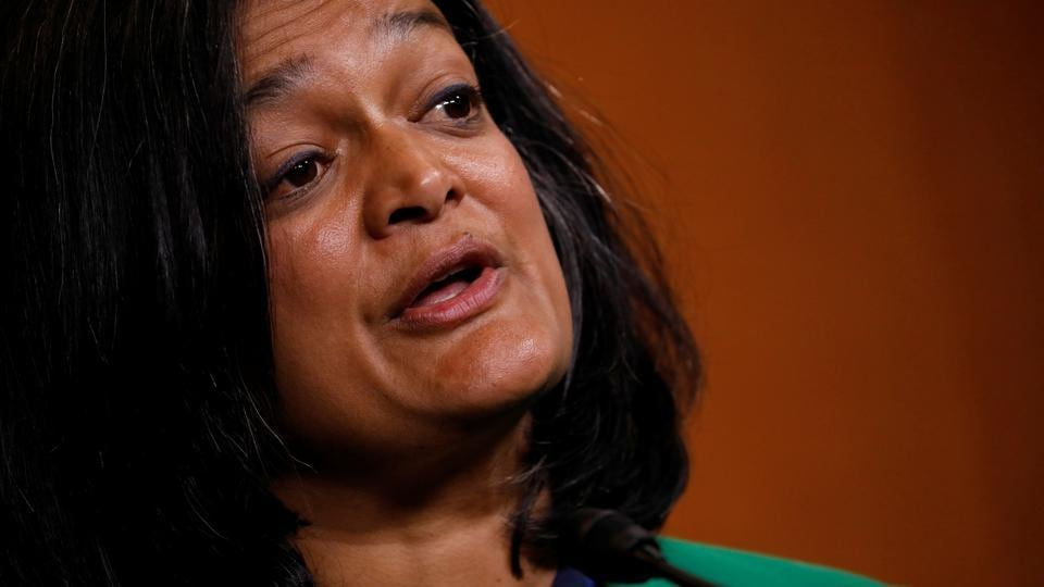 Pramila Jayapal (D-WA) speaks at a press conference about a House resolution, at  the Capitol Hill in Washington.