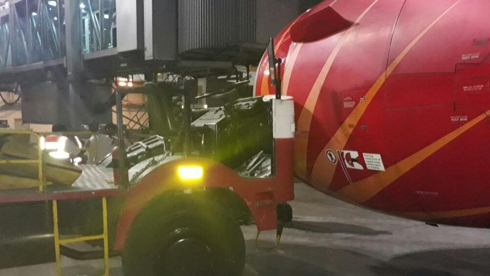 Engine number 1 on the outboard side of the flight, AI820 from Vadodara to Delhi, hit a parked ground cool unit at Delhi's Indira Gandhi International Airport on Friday.