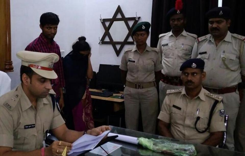 Purnia superintendent of police (SP) Nishant Tiwary (left) with the arrested woman and her paramour.