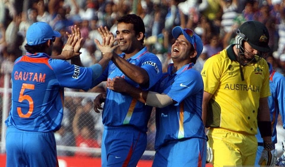 Indian cricket team players celebrate the fall of an Australian cricket team wicket during the quarterfinals of the ICCWorld Cup in 2011. India beat Australia to boot them out of the tournament.