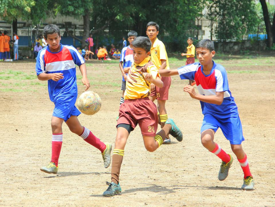St Vincent's School (yellow) thrashed Angel Mickey and Minnie School 7-0 to enter the quarterfinals of the boys' under-14 inter-school football tournament.