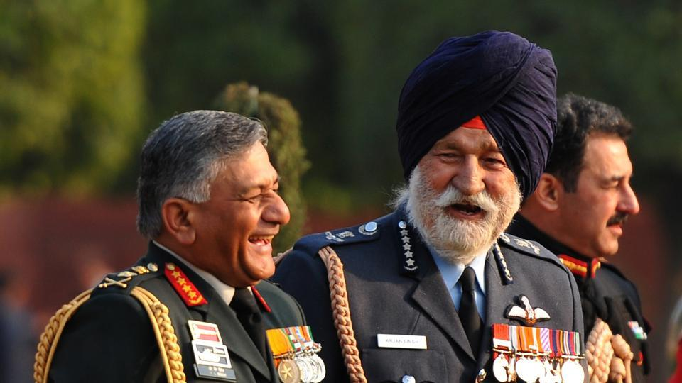 Former army chief Gen VK Singh (left) with former Air Chief Marshal Arjan Singh at a Republic Day ceremony in New Delhi in 2012.